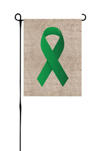 Green Ribbon on faux Burlap Garden Flag