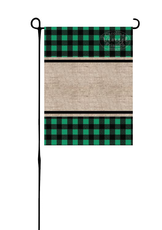 Green Buffalo Plaid & Burlap Garden Flag