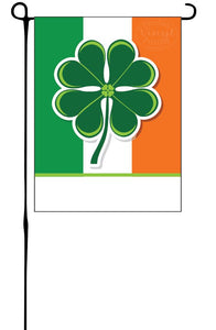 Irish Flag with Clover Garden Flag