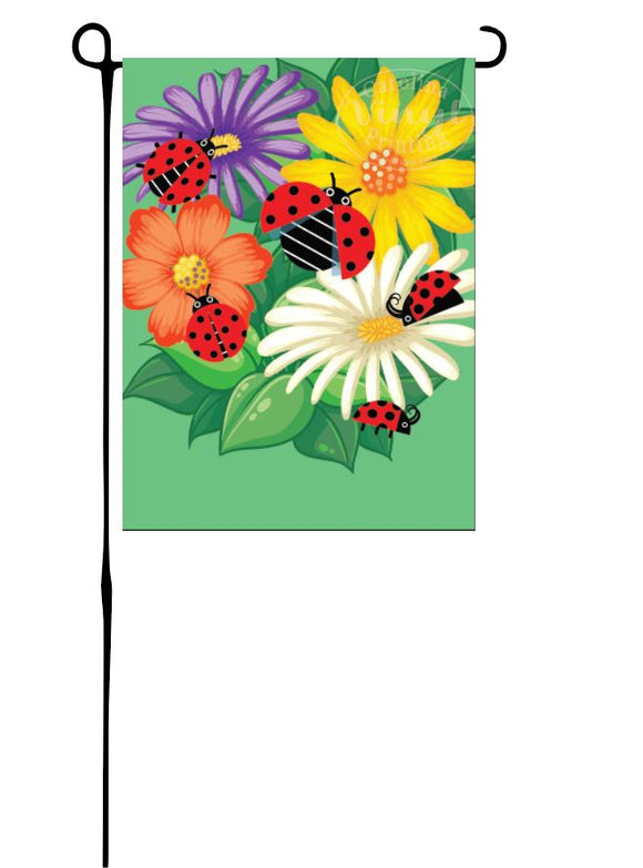 Ladybugs & Flowers Garden Flag