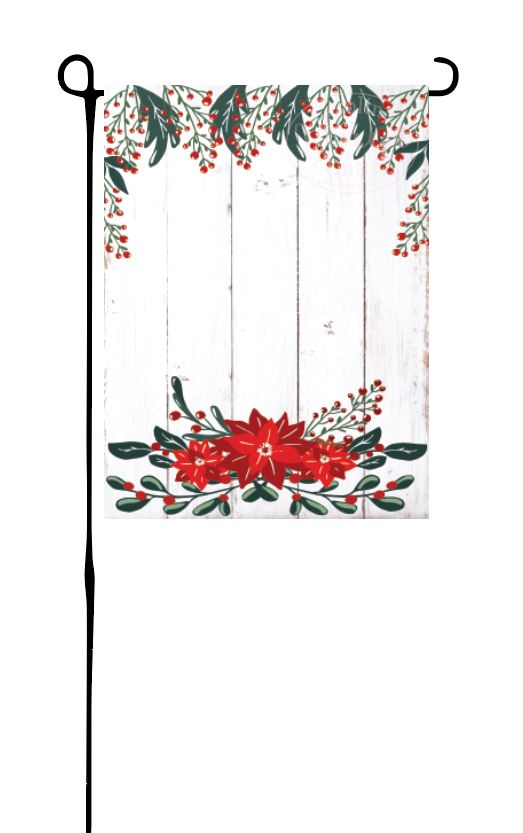 Poinsettia and Evergreens Garden Flag