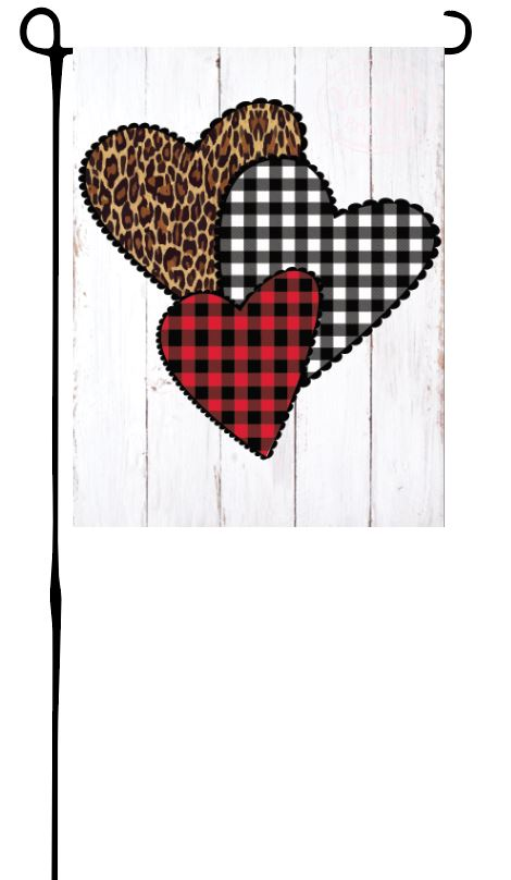 Leopard & Plaid Hearts Garden Flag