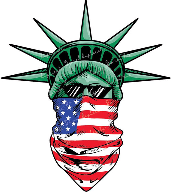 Statue of Liberty with Flag Mask Vinyl Heat Transfer