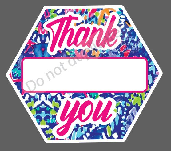Blue Print Thank You Name LABELS (3.5 inches) - Set of 28