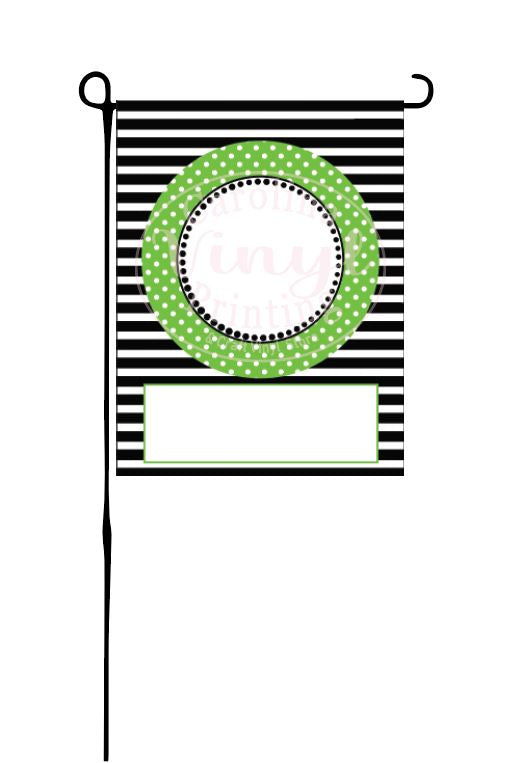 Lime Circle on black stripes Garden Flag