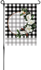 Copy of Magnolia Flower Wreath on Plaid Garden Flag