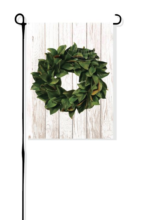 Magnolia Wreath on faux wood Garden Flag