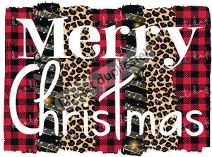 Merry Christmas on Leopard and Plaid Background Vinyl Heat Transfer