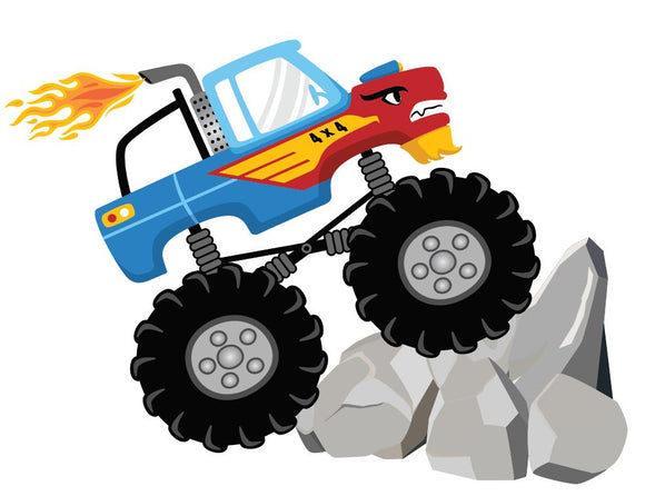 Monster Truck with Rocks Vinyl Heat Transfer