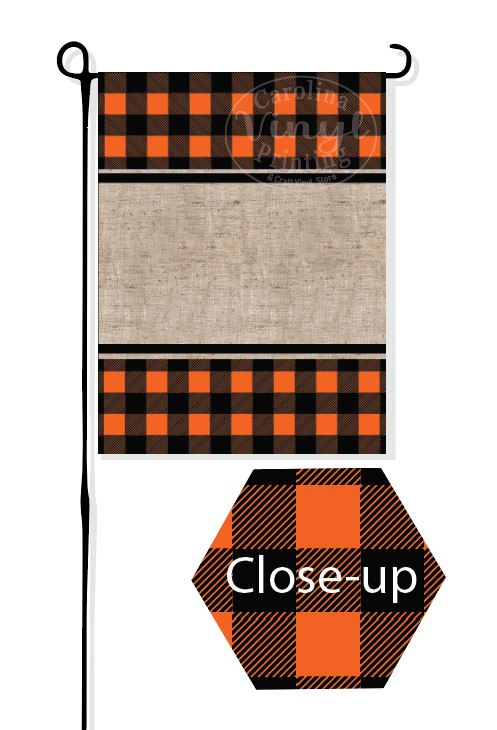 Orange Buffalo Plaid & Burlap Garden Flag