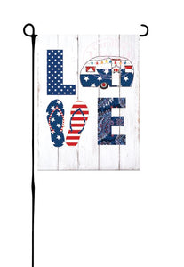 Patriotic LOVE Camper Garden Flag