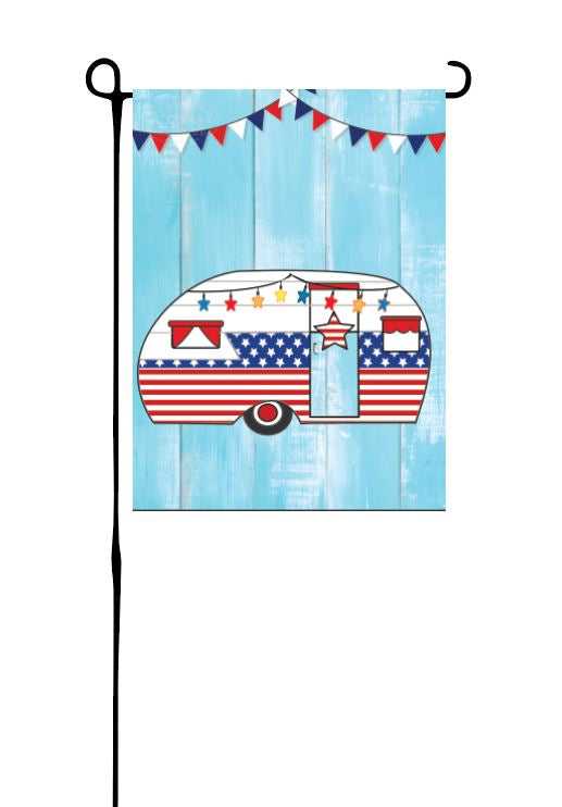 Retro Patriotic Camper (No Words) Garden Flag