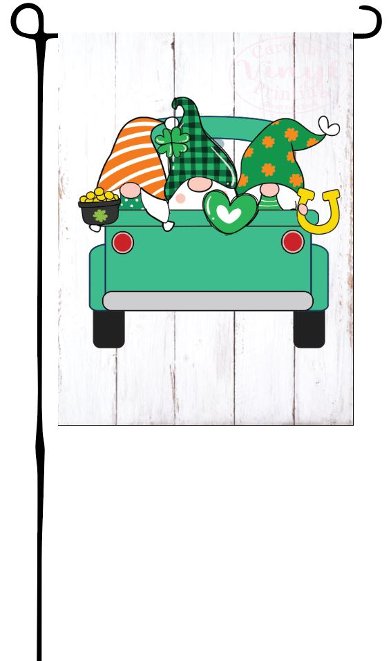 Patrick Day Gnomes in Truck Garden Flag