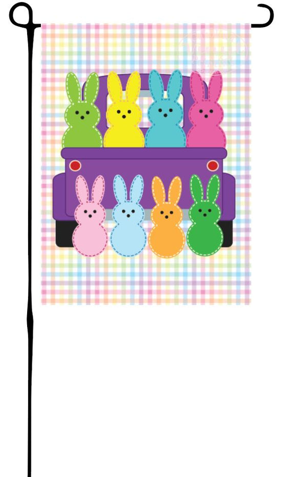 Easter Peeps in Truck Garden Flag