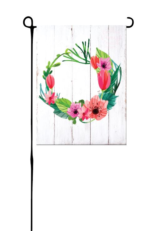 Bright Pink Floral Wreath Garden Flag