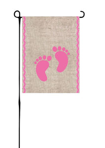 Pink Baby Feet on Faux Burlap Garden Flag