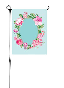 Pink Flower Wreath on Blue Garden Flag