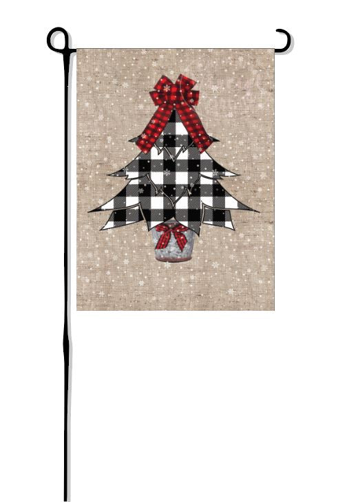 Snowy Buffalo Plaid Christmas Tree Garden Flag