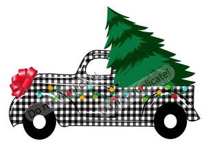 Plaid Christmas Tree Truck Vinyl Heat Transfer