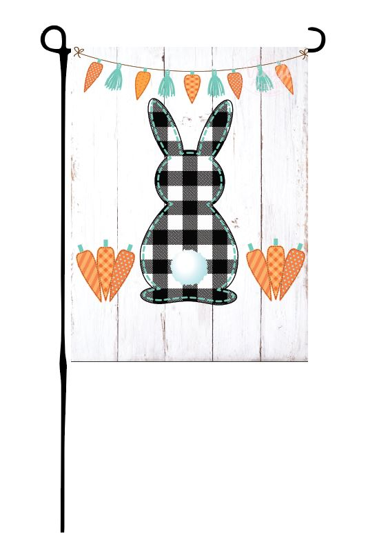 Buffalo Plaid Easter Bunny Garden Flag