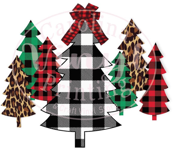 Christmas Trees in leopard & plaid Heat Transfer