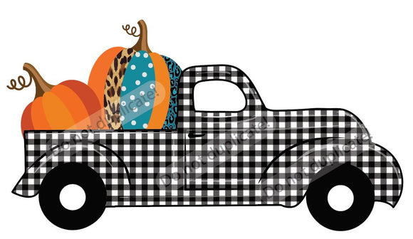 Plaid Truck with Pumpkins Vinyl Heat Transfer