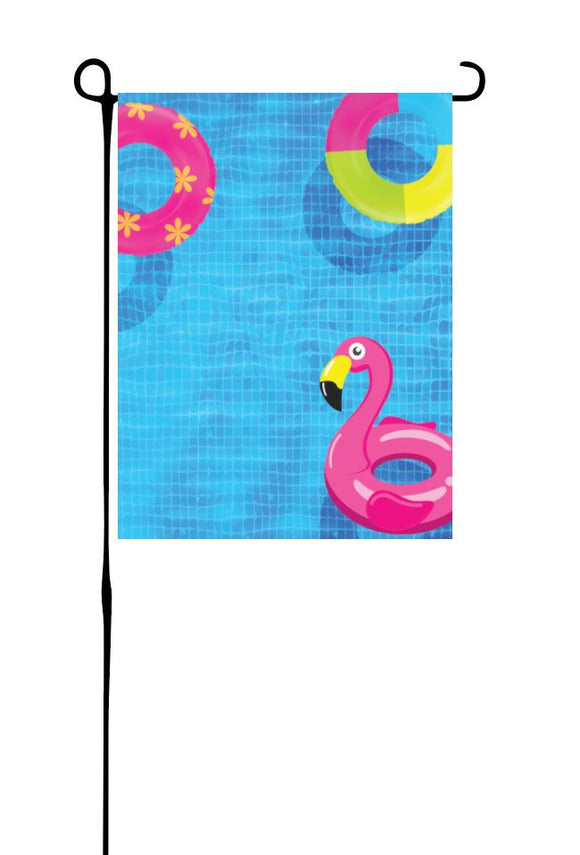 Pool with Floaties Garden Flag