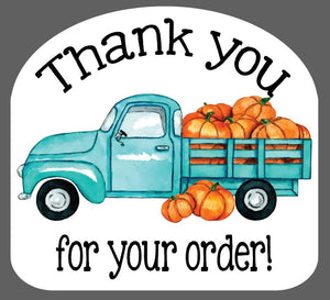Blue Truck with Pumpkins - Thank You Stickers - Set of 45 (2.5 inch)