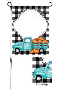 Blue Pumpkin Truck on Buffalo Plaid Garden Flag