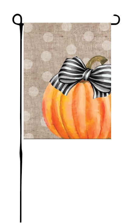 Pumpkin with bow Garden Flag