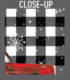 Red Christmas Truck on Buffalo Plaid Garden Flag