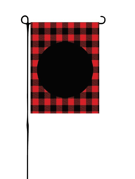 Red Buffalo Plaid with black circle