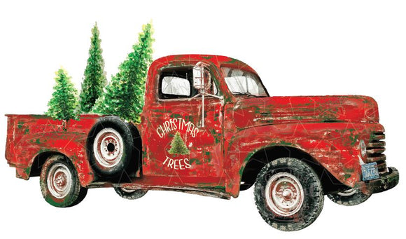 Red Christmas Tree Truck Heat Transfer