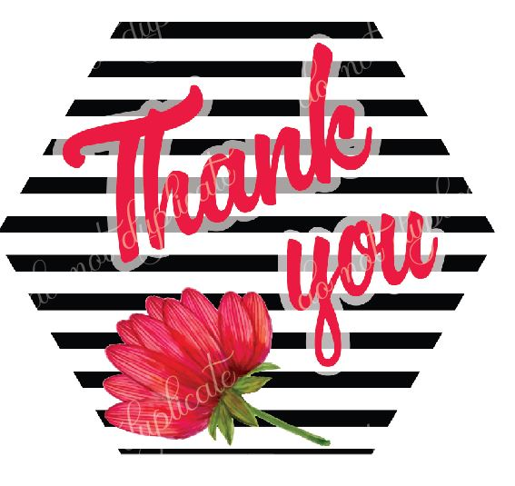 Red Flower & Stripes Set of 45 (2.5 inch) Thank You Stickers