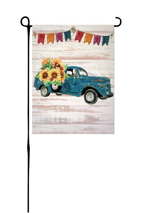 Rustic Sunflower Truck (middle) with lady bugs Garden Flag