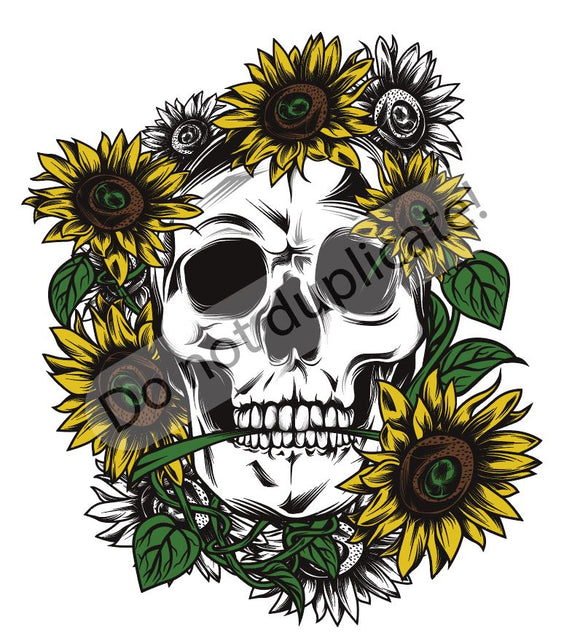 Skull with Sunflowers Vinyl Heat Transfer