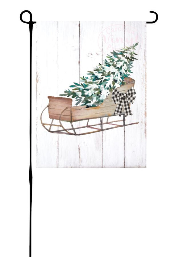 Sled with Christmas Tree Garden Flag