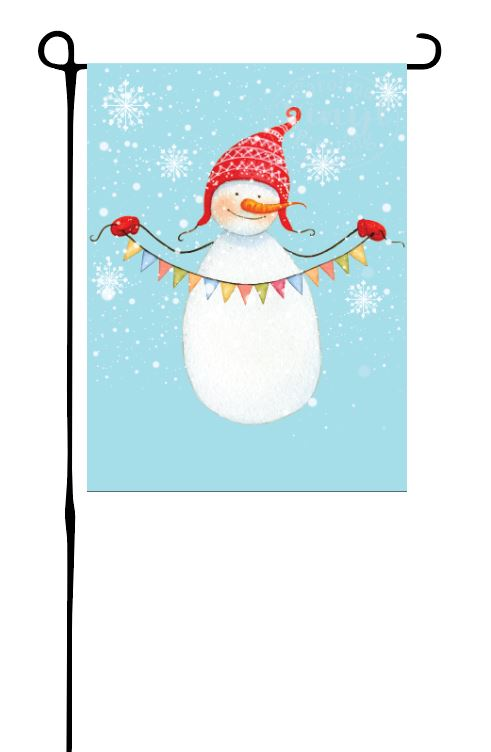 Snowman Holding Flags Garden Flag