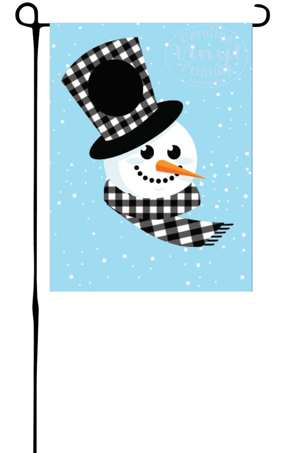 Snowman with Buffalo Plaid Monogram Hat Garden Flag