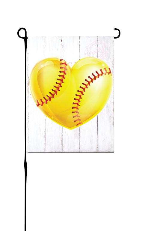 Softball Heart Garden Flag
