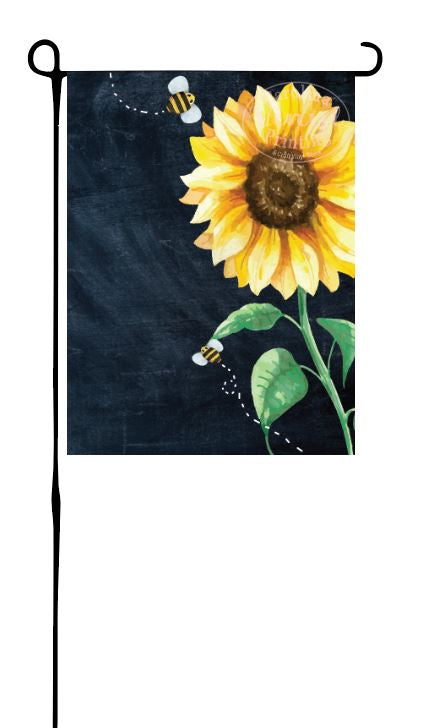 Sunflower on faux Chalk Board Garden Flag