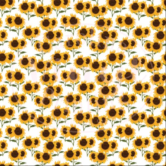 Sunflowers on White Printed Vinyl (HTV & Adhesive)