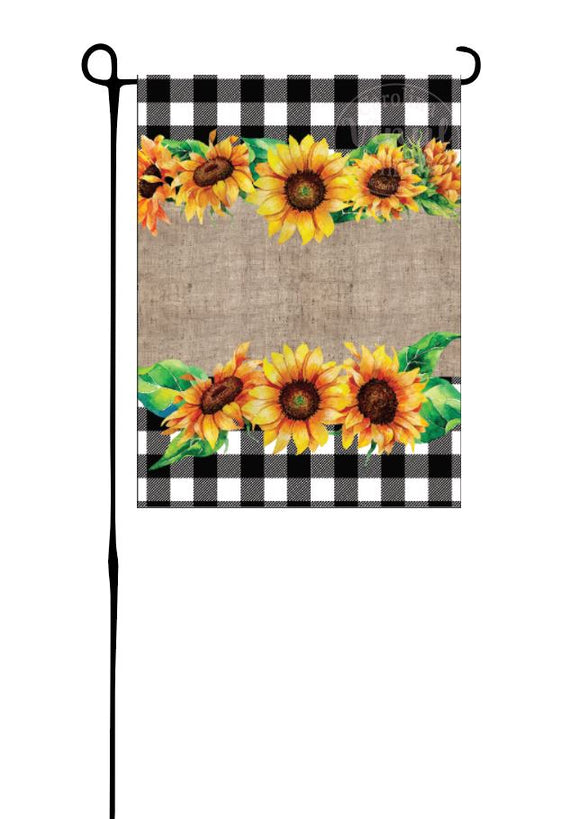 Sunflowers on buffalo plaid & burlap Garden Flag