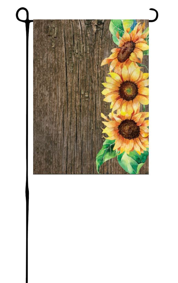 Sunflowers on Wood Garden Flag