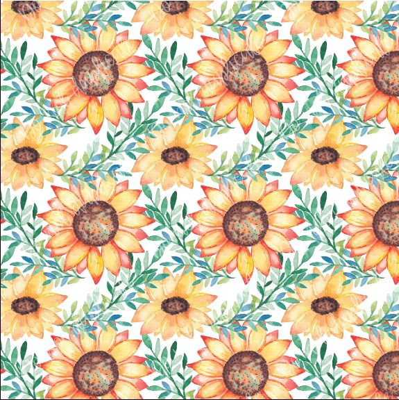 Watercolor (Large) Sunflowers Printed Vinyl (HTV & Adhesive)