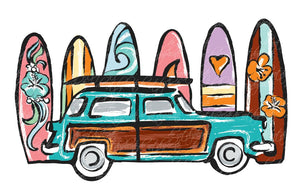 Beach Car with Surfboards Heat Transfer
