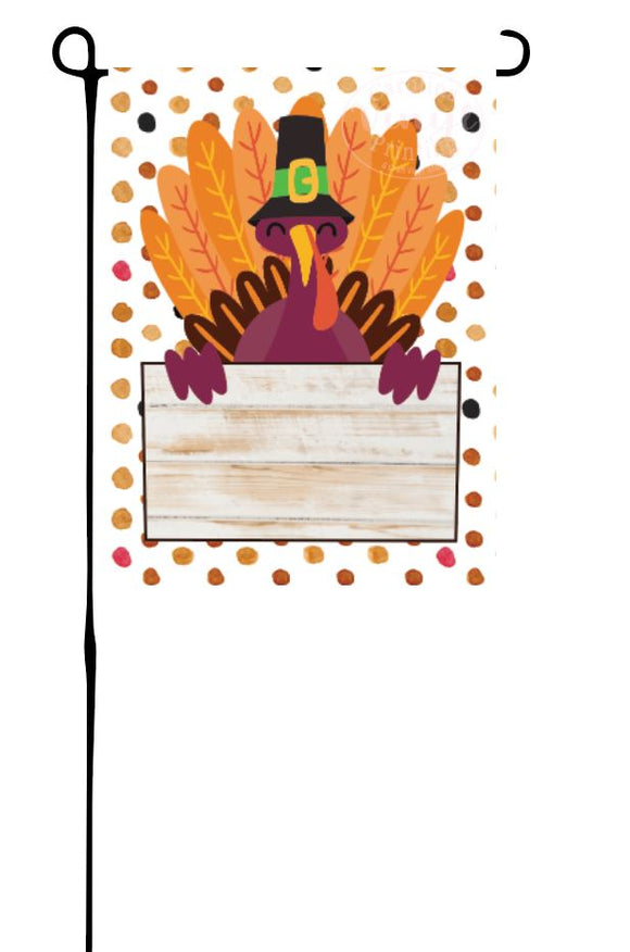 Fall Turkey with Sign Garden Flag