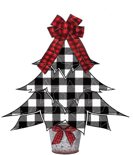 White Buffalo Plaid Christmas Tree Heat Transfer