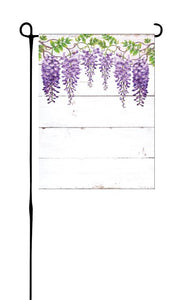 Wisteria on White Wood Background