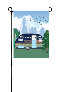 Retro Wood Camper (mountains) Garden Flag
